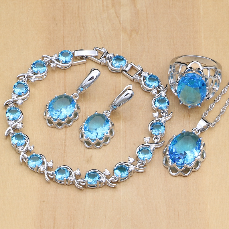 925 Sterling Silver Bridal Jewelry Sets Sky Blue Stone White Crystal For Women Ring/Earrings/Pendant/Bracelet/Necklace Set