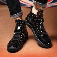 Men Casual Shoes Patent Leather High Top Shoes Rivet Hip hop Boots Quality Hip Hop Sneakers Zapatillas Hombre