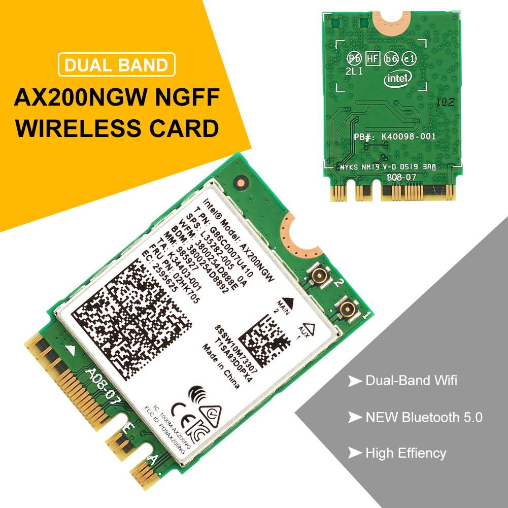 Dual Band Wireless AX200NGW 2.4Gbps 802.11ax Wireless Intel AX200 WiFi Card Bluetooth 5.0 For Windows 10