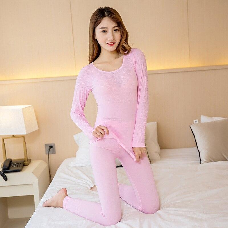 Women Modal Winter Set Warm Pajamas Slimming Seamless Thermal Underwear For Women Pants Long Johns Thermos Female Warm Costumes in Long Johns from Underwear Sleepwears