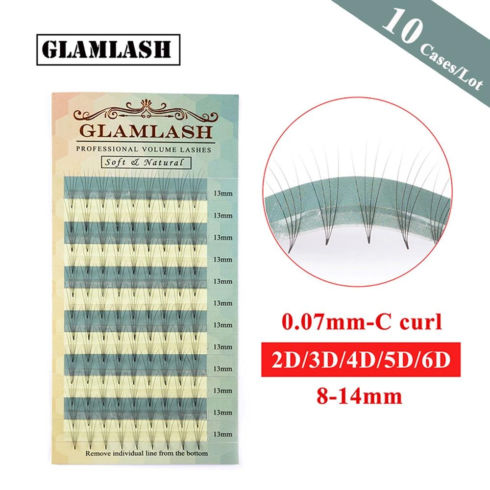 GLAMLASH Wholesale 10 Cases 8-15mm 3D Volume Eyelashes Extension Charming Silk Lashes False Mink lashes