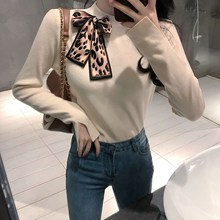 Women Sweaters And Pullovers Leopard Printed Bow Long Sleeve Casual Sweater Knitted Jumpers Sweter Mujer
