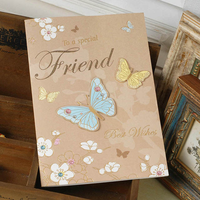 Doreenbeads Paper Greeting Card Flower Butterfly Birthday Party