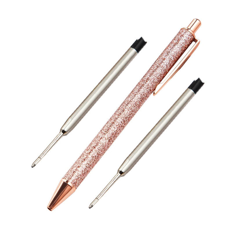 Gold Powder Metal Press Ballpoint Pens Creative Gifts Promotion Girl Heart Signature Pen Student Office Writing Stationery