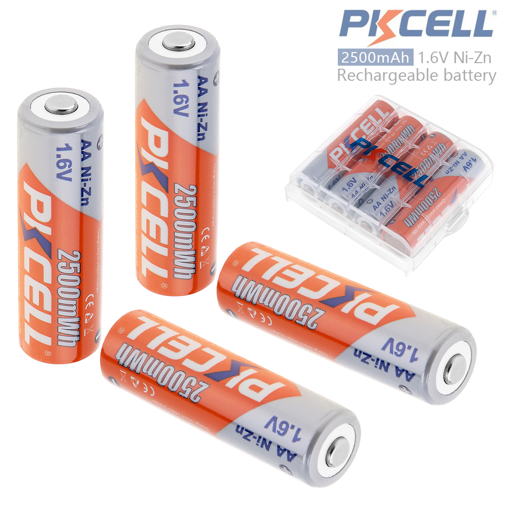 PKCELL 4pcs 2500mWh 1.6V Ni-Zn AA Rechargeable Battery with Over-current Protection + Battery Hold Case Box for Toys Camera
