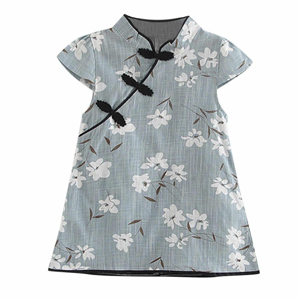 ילדים פעוט תינוקת נסיכת שמלת פעוט ילדים תינוקת פרחוני Midi שמלה מזדמן נסיכת מסיבת שמלת בגדים
