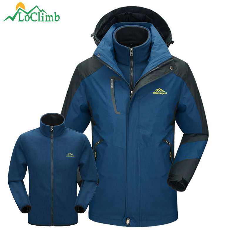 LoClimb 3 In 1 Outdoor Hiking Jackets Winter Ski Waterproof Windbreaker Trekking Climbing Fleece Jackets Men's Sports Coat,AM166