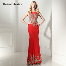 Sexy Sheer Red Mermaid Lace Evening Dresses 2017 with Rhinestone Formal  Engagement Party Prom Gown vestido longo de festa 0641 7f2a20335ef3