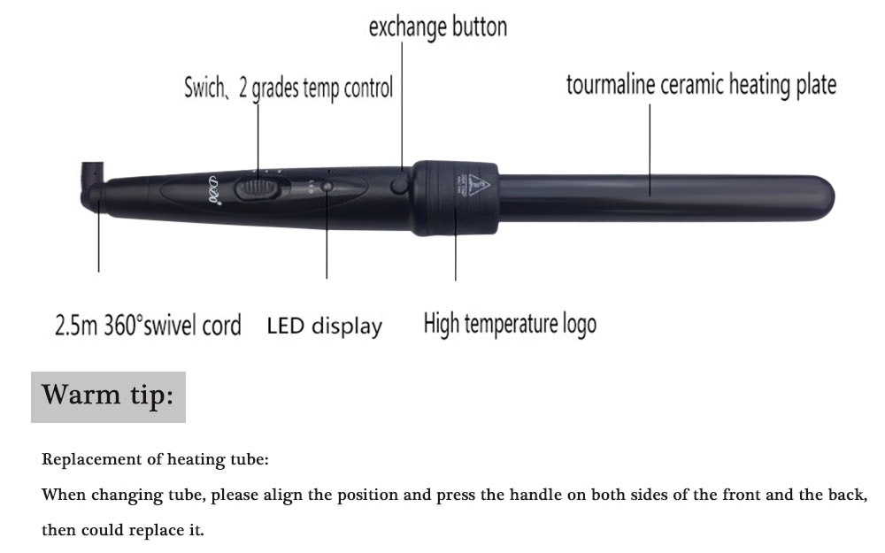 DODO 3 In 1 Hair Curlers Care Styling Curling Wand Interchangeable 3 Parts Clip Hair Iron Curler Set Curler Hair Styles Tool