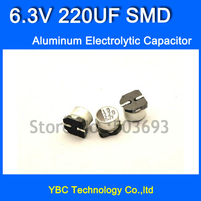 Free Shipping 100pcs/lot <font><b>6.3V</b></font> <font><b>220UF</b></font> SMD <font><b>Aluminum</b></font> <font><b>Electrolytic</b></font> <font><b>Capacitor</b></font> 6*5MM image