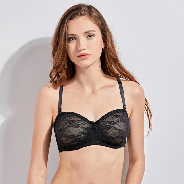 Sexy Mesh Sheer Floral Lace No Padding Strapless Bra 3