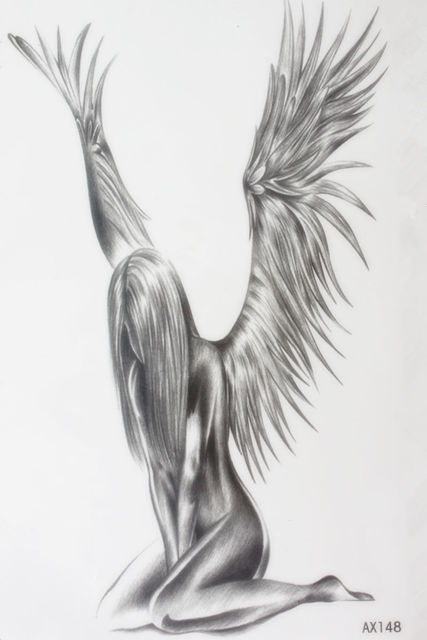 Sorrowful Female Angel Size 22 X 12cm Brand Body Art Tatoo Temporary Tattoo Exotic Sexy Henna Tattoo Tattoo Stickers