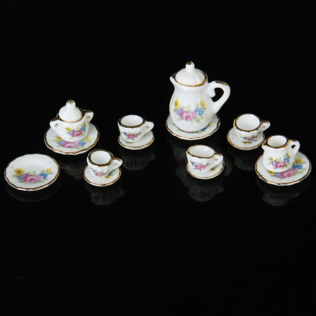 15 Stück Miniatur Puppenhaus Geschirr Porzellan Tee Set Geschirr ...