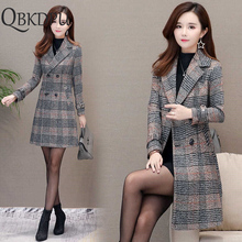 Winter Women Wool Blends Casual Jacket Plaid Trench Coat Ele