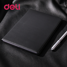 Deli 1pcs Business Leather Notebook 48K Office Black for School Supply Planner Organizer Agenda Gift