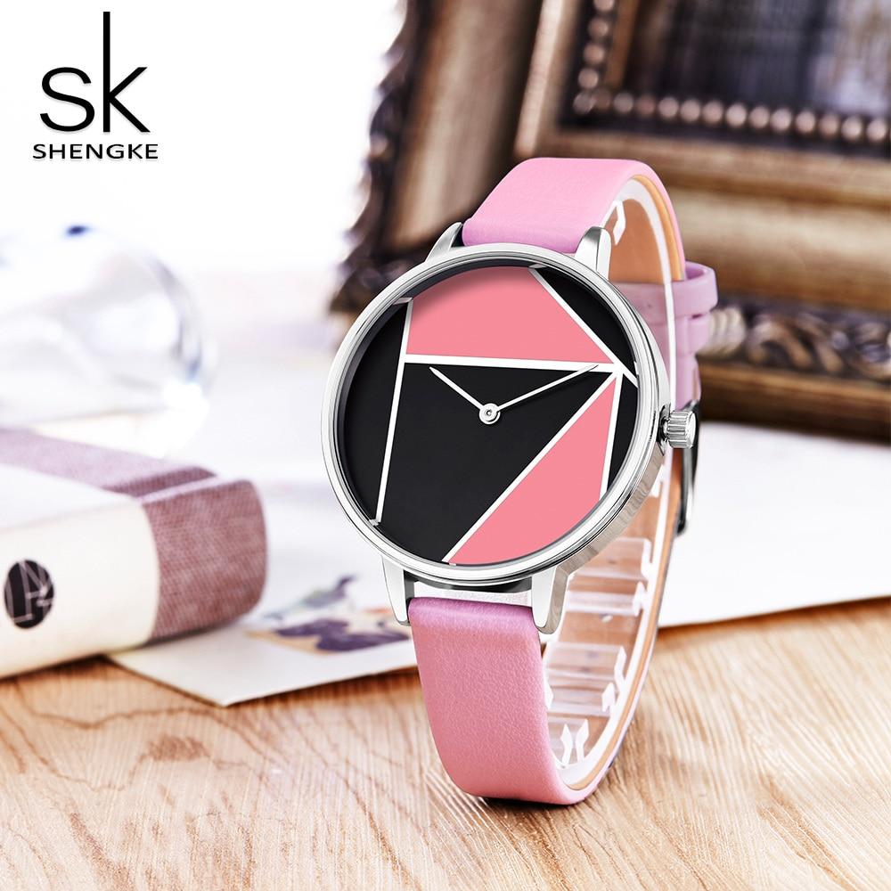 SK Leather Watchband Strap Women's Dress Business Watch Elegant Quartz Wristwatch Clock 4
