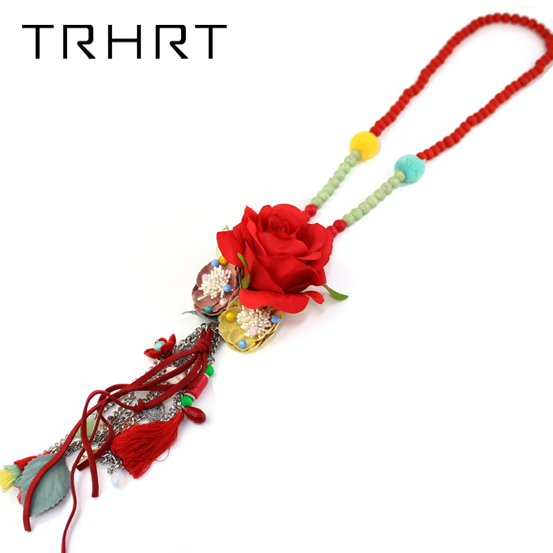 2018 newest design sweet multi layer flower necklace for women exaggerated flower long bead bohemian statement Long necklace