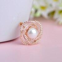 Luxuries Rose Flower Girls Women Brooches Zircon Pearl Brooch Gift For Friend Wedding Bridal Copper Rhinestones