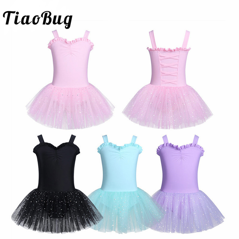 TiaoBug Cute Child Sleeveless Ruffle Sweetheart Ballet Tutu Dress Girls Gymnastics Leotard Ballerina Party Stage Kids Dance Wear