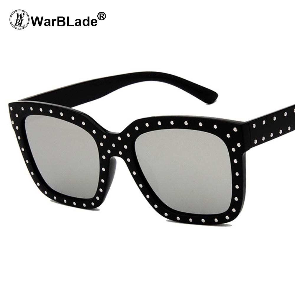 WarBLade Fashion Rhinestone Oversized Square Sunglasses Women Elegant Brand Designer Big Mirror Sun Glasses For Female UV400