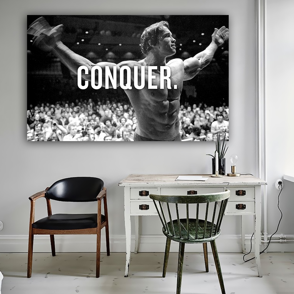 CONQUER Arnold Schwarzenegger Bodybuilding Motivational Quote Art Silk Poster Print 13x20 24x36inch Wall Picture for Living Room