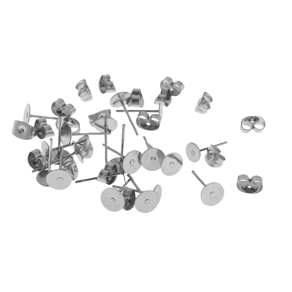 15 Pairs Stainless Steel Blank Round Earring Pads Butterfly Safety Backs Flat Earrings Pin Post Stud Back Findings in Jewelry Findings Components from Jewelry Accessories