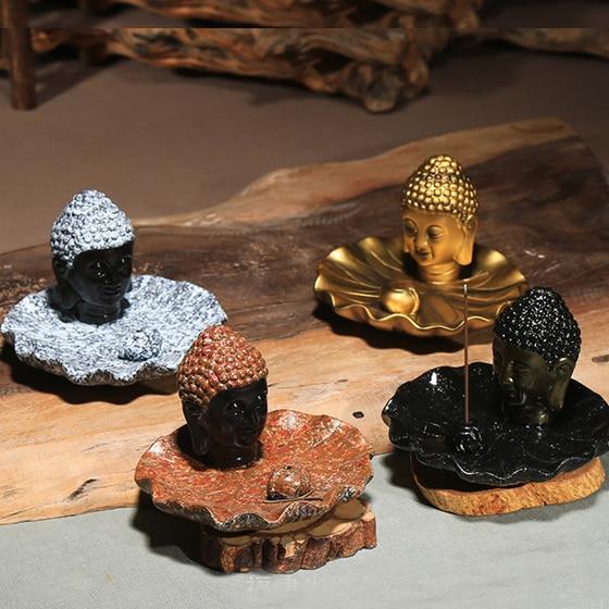 Buddha hlava keramická aromaterapie kadidlo držák na vonné - Dekorace interiéru - Fotografie 1
