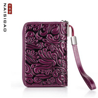 NAISIBAO 2019 New Genuine Leather Women handbags top cowhide fashion Luxury women Multi card card pack coin purse passport hold