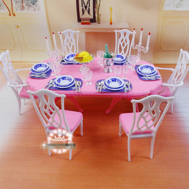 DIY Plastic Doll House Dollhouse Kitchen Dining Room Furniture Dining Table  Tableware Set Accessories For Barbies