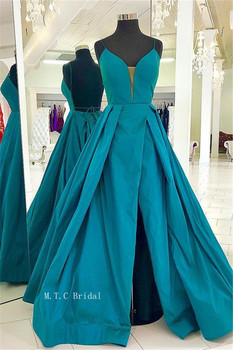 Backless High Split Sexy Evening Dress 2019 Spaghetti Strap A Line Sweetheart Long Formal Occasion Dresses Custom Made