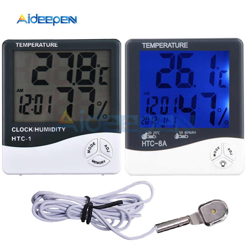 HTC-1 HTC-2 HTC-8A LCD Display C/F Hygrometer Thermometer Indoor Outdoor Temperature Humidity Monitor With Date Time Alarm Clock