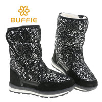 Women boots Black silver fashion thick water resistant fabric upper cow suede tape warm inside fur low tempreture warm lady boot