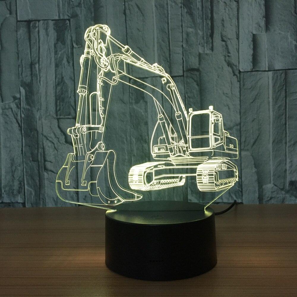 3D экскаватор ночник Иллюзия светодиодный сенсорный Настольная лампа 7 видов цветов USB Новинка Luces форма автомобиля прикроватные ночники под...