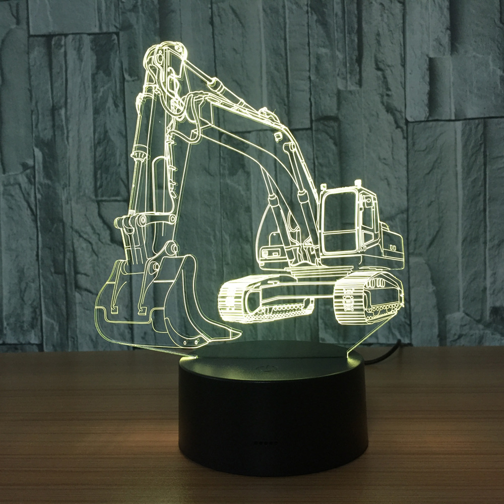3D Excavator Night Light Illusion LED touch Table Lamp 7 Colors USB Novelty Luces Car Shape Bedside Nightlight Lamps Boy Gift image