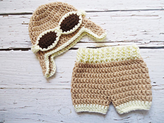 Hot seeeling! cáqui aviator caps Crochet Do Bebê com capa de Tecido, feito à mão chapéu piloto, shorts bebê Recém-nascido Set Foto Prop NB-3M