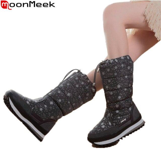9f5f83f3 US $32.76 48% OFF|MoonMeek 2018 moda gorąca sprzedaż nowe buty zimowe  kobiet okrągły nosek utrzymać ciepłe wygodne buty płaskie buty śnieg ...