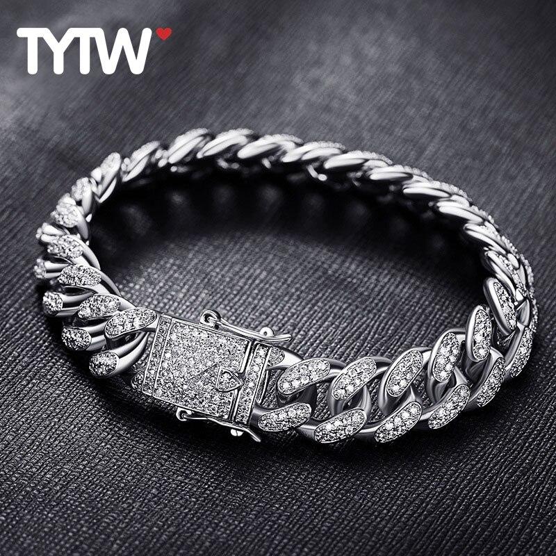 TYTW 8 pouces hommes hip-hop mode Bracelet avec Rhodium 18 kGold plaqué personnaliser Street Dance homme Cool élégant Zircon Pave Bracelet