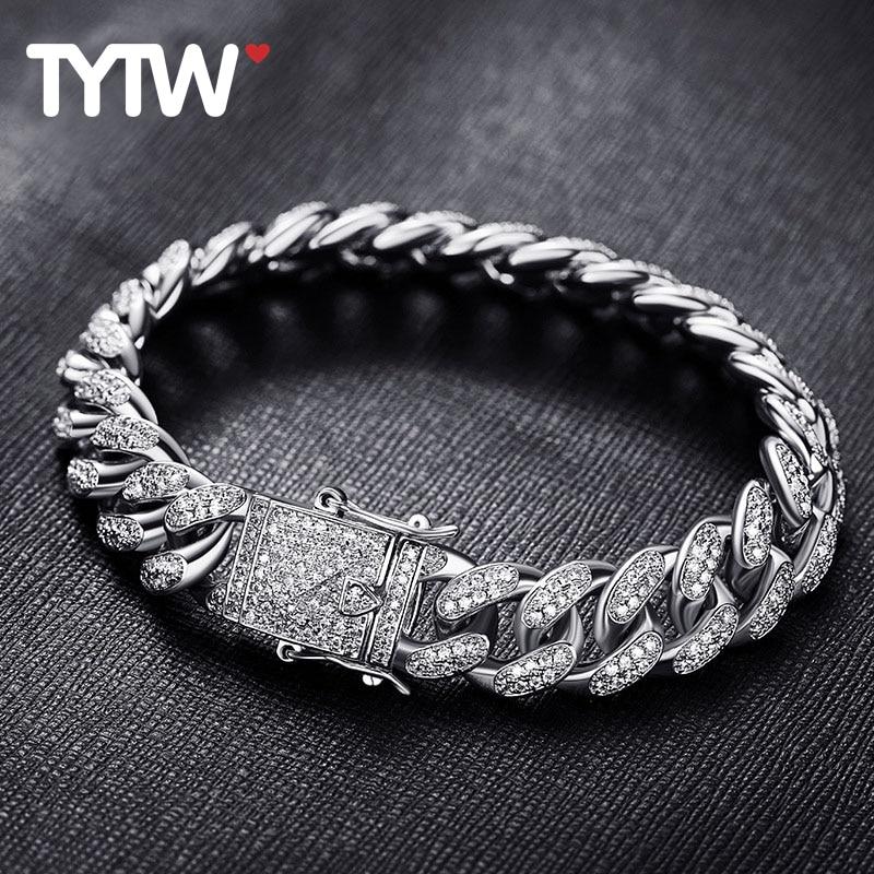 TYTW 8inch Men Hip-Hop Fashion Bracelet with Rhodium 18kGold Plated Customize Street Dance Man Cool Stylish Zircon Pave Bangle stylish rabbit embroidery hip hop carrot brim snapback cap