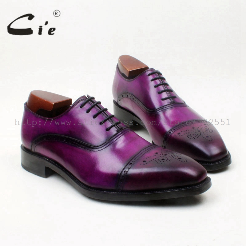 cie Square Toe Semi-Brogues Lace-Up Oxfords Patina Lila 100% Äkta Kalv Läder Botten Yttersula Goodyear Welted Men ShoeOX678