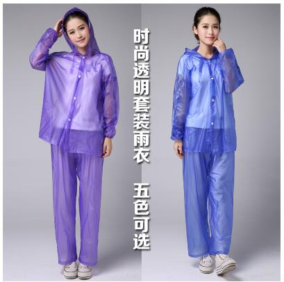 Fashion transparent suit raincoat rain pants split plastic Korean poncho men and women adult waterproof outdoor riding