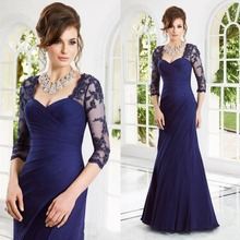 Royal Blue Plus Size Mother of the Brides Lace Dresses with Long Sleeves Appliques Sheath Mother