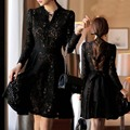 2016  Spring Summer maternity clothing plus size black fashion loose lace dress maternity dress pregnant woman outwear
