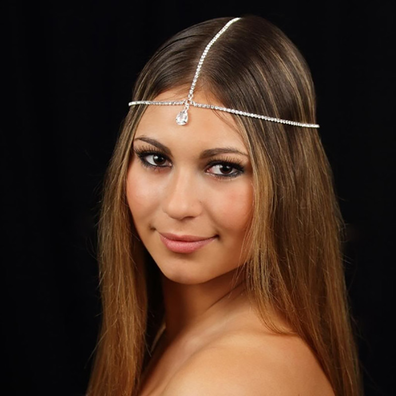 Wedding Rhinestones Metal Head Jewelry Headband Head Piece Hair Band