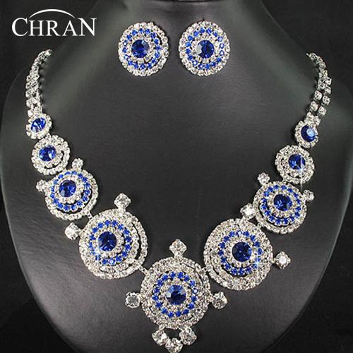 Fiesta Nupcial Regalos de La Promoción de Cristal austriaco Rodio Plateado Azul Rhinestone de Las Mujeres de La Boda Joyería Conjunto Envío Gratis