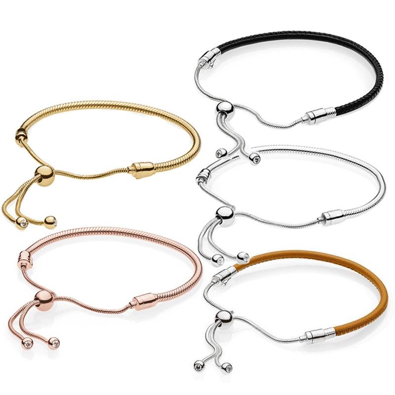 100% 925 Sterling Silver Bracelet Sliding Black Leather Moments Leather Bracelet Rope Rose Gold, 18k Gold Push pull Bracelet