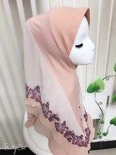 نمط 3 # جديد كبار 75DPearl الشيفون الديكور المطبوعة زهرة طويلة مسلم قطعة واحدة الحجاب