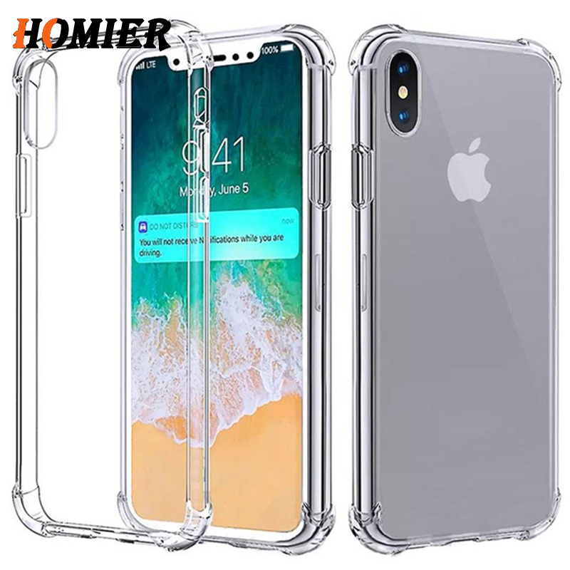 Transparent soft TPU Case For iPhone X 7 8Plus 6 6S Plus 5S 5 SE Silicone AirBag Shockproof Clear Cover For iPhone X Anti fall(China)