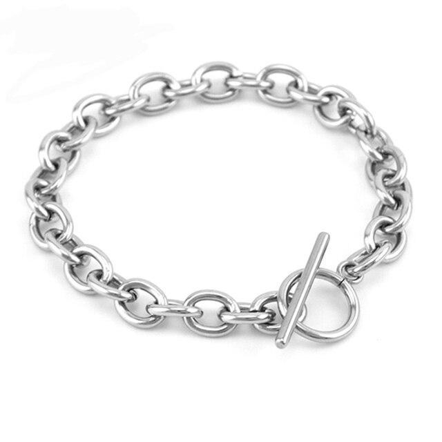 100% ze stali nierdzewnej 8mm szerokość gruby łańcuch Rolo bransoletka Punk Rock duża bransoleta dla mężczyzn akcesoria prezent mężczyźni chłopiec 2019 sprzedaż hurtowa