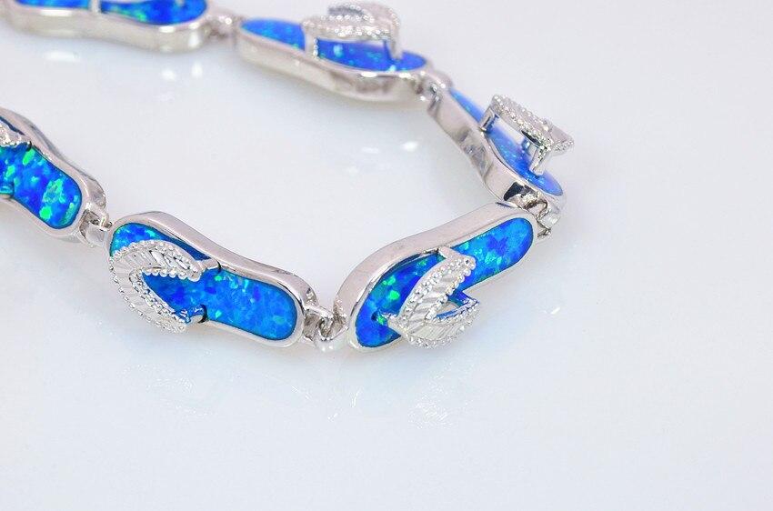7ef69d483dfb4f Wholesale   Retail Fashion Fine Blue Fire Opal flip flops Bracelet Sliver  Jewelry party gifts For Women BNT170919001-in Chain   Link Bracelets from  Jewelry ...