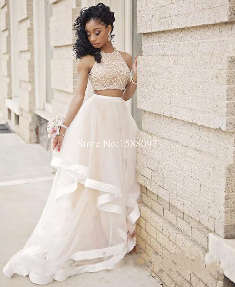 Fashonal Crystal Beaded 2 Piece Prom Dresses Long Elegant High Neck